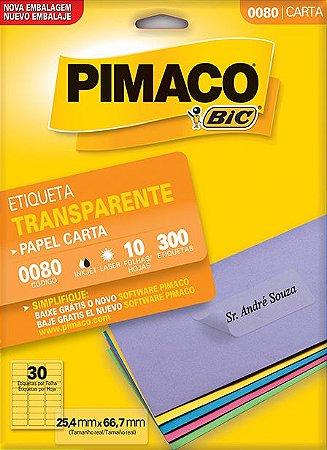 ETIQUETA CARTA 0080 TRANSPARENTE 10 FOLHAS - PIMACO