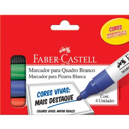 MARCADOR PARA QUADRO BRANCO 4 CORES - FABER-CASTELL