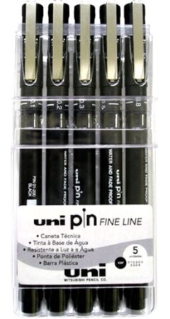 CANETA PIN FINE LINE PRETA C/5 UNIDADES - UNI-BALL