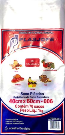 SACO PLÁSTICO PE 40X60X006 1KG - PLASJOPE