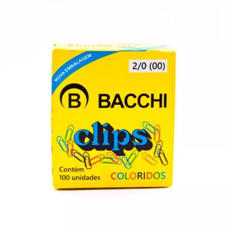 CLIPS Nº 2/0 (00) COLORIDO C/100 UNIDADES - BACCHI