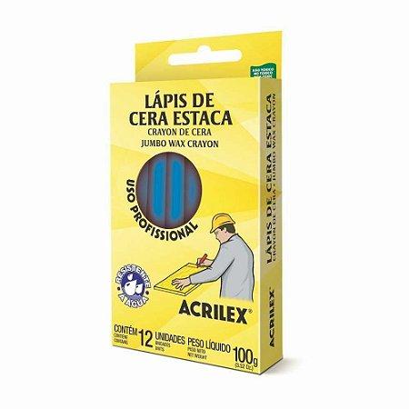 LÁPIS DE CERA ESTACA 501 AZUL TURQUESA C/12 UNIDADES - ACRILEX