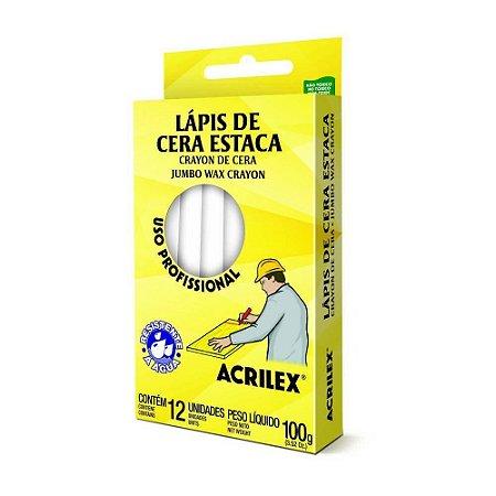 LÁPIS DE CERA ESTACA 519 BRANCO C/12 UNIDADES - ACRILEX