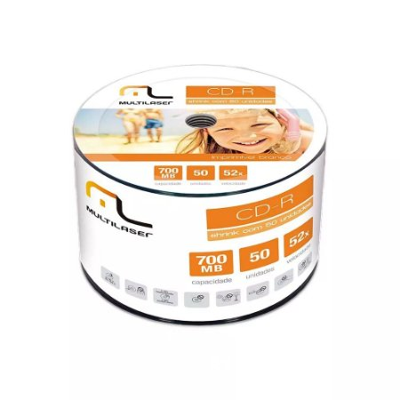 CD-R GRAVÁVEL 700MB PRINTABLE SHRINK C/50 UNIDADES CD052 - MULTILASER