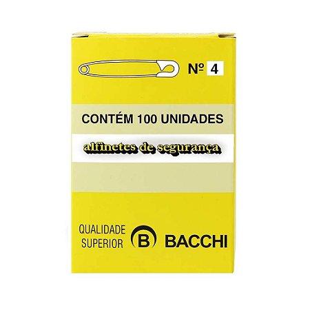 ALFINETE DE SEGURANÇA N° 4 NIQUELADO C/100 UNIDADES - BACCHI