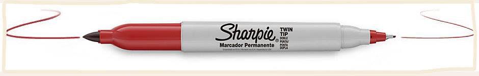 MARCADOR PERMANENTE TWIN TIP VERMELHO - SHARPIE