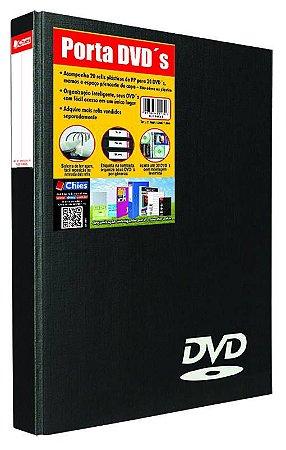 PORTA DVD PRETO C/20 REFIS - CHIES