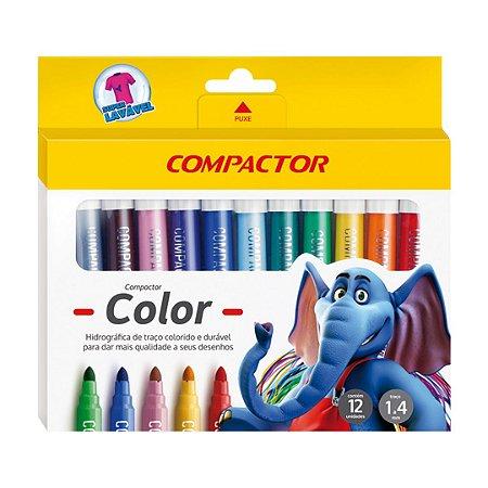 CANETA HIDROGRÁFICA COMPACTOR COLOR 12 CORES - COMPACTOR