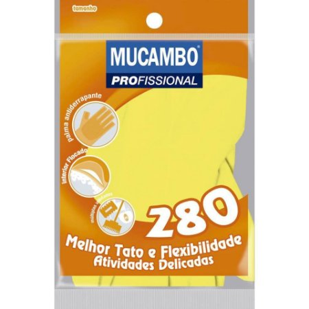 LUVA DE LÁTEX PROFISSIONAL MÉDIA AMARELA - MUCAMBO