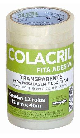 FITA ADESIVA PP 12MMX40M TRANSPARENTE C/12 UNIDADES - COLACRIL