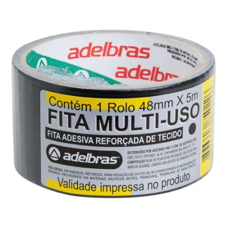 """FITA ADESIVA REFORÇADA MULTIUSO """"SILVER TAPE"""" 48MMX5M PRETA - ADELBRAS"""