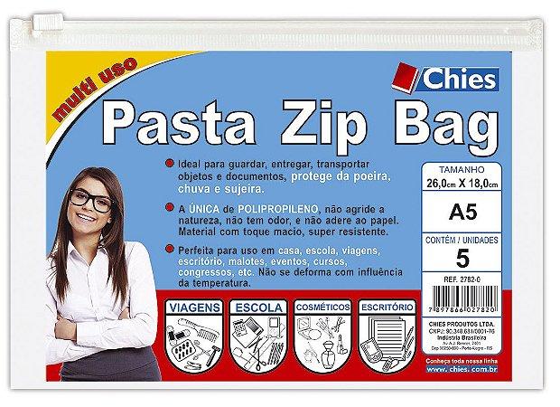 PASTA ZIP BAG 26CMX18CM CRISTAL C/5 UNIDADES - CHIES