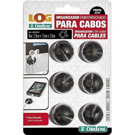 ORGANIZADOR EMBORRACHADO PARA CABOS PRETO C/6 UNIDADES - ORDENE