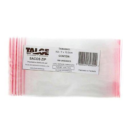 SACO PLÁSTICO ZIP LOCK Nº 3 [7CMX10,5CM] C/100 UNIDADES - TALGE