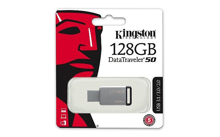 PEN DRIVE DT50/128GB METAL E PRETO - KINGSTON