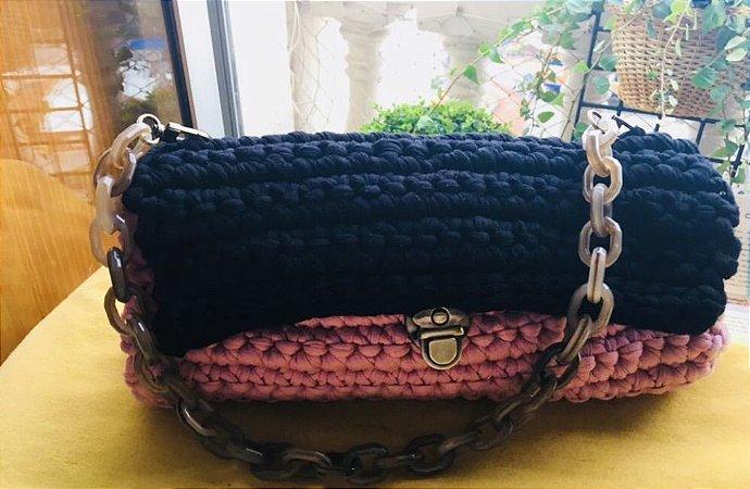 bolsa em fio de malha em 3 cores preto ,rosa velho claro e rosa velho escuro