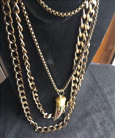 conjunto com 3 peças em ouro veho e pingente  dente de Marrocos