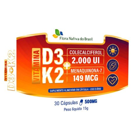 Vitamina k2 (Mk-7) + Vitamina D3 30 cápsulas - Flora Nativa