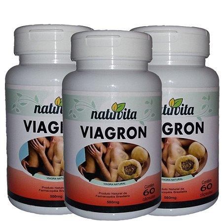 Kit com 3 Viagron Estimulante Sexual Natural - Total 180 cápsulas