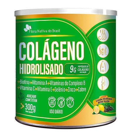 Colageno Hidrolisado Com Vitaminas e Minerais 300g - Flora Nativa - LIMAO E CHÁ VERDE