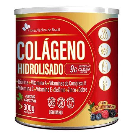 Colageno Hidrolisado Com Vitaminas e Minerais 300g - Flora Nativa - Frutas Vermelhas