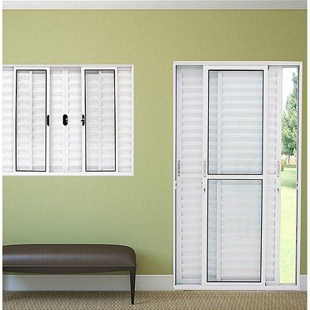 Porta Balcão perfectra max  3 folhas - aluminio Branco ou preto