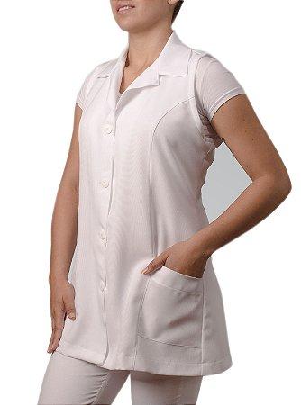 Jaleco Feminino Gabardine Branco Regata Com Bordado