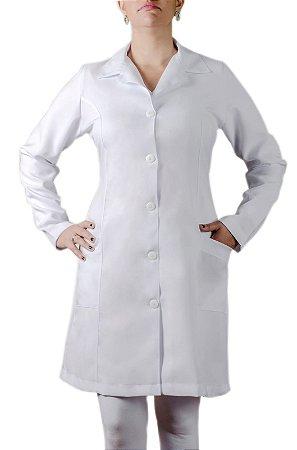 Jaleco Feminino Brim (100% Algodão) Branco Manga Longa Sem Bordado