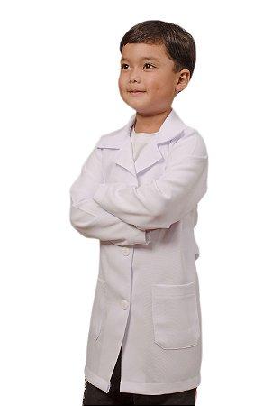 Jaleco Microfibra Branco Unissex Infantil Com Bordado