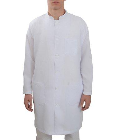 Jaleco Masculino Gabardine Branco Gola Padre Manga Longa Com Punho Com Bordado