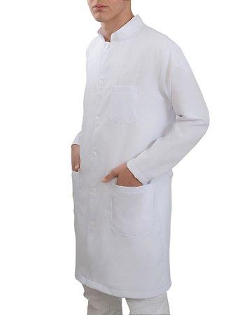Jaleco Masculino Oxford Branco Gola Padre Manga Longa Com Punho Sem Bordado
