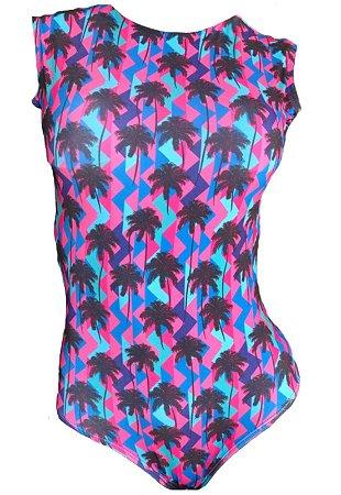 Maio Garota de Luxo Beachwear Com Tradicional Coqueiro Multicolorido