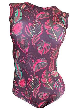 Maio Garota de Luxo Beachwear Com Tradicional Rosa Folhas Multicolorido