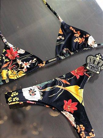 Biquinis Cortininha Floral fundo Black