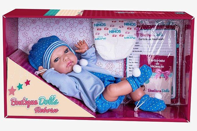 Boneca Boutique Dolls Reborn C/ Casaco Azul e Acessórios 474 Super Toys