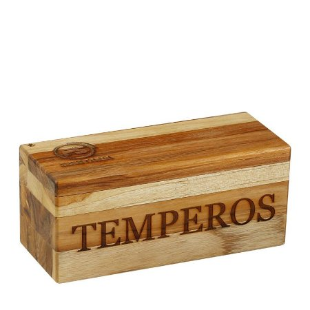 Porta Tempero em Madeira 24x10x10cm 7064 F. Santana