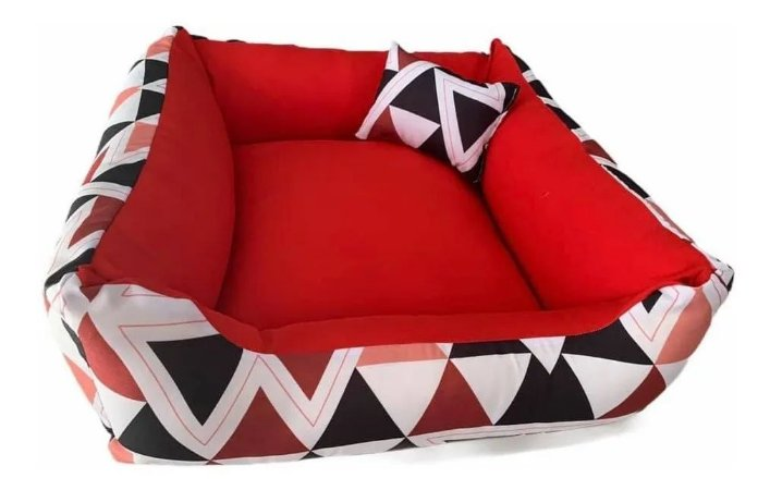 Cama P/ Cachorro Lavável C/ Ziper 70X70cm Vermelha