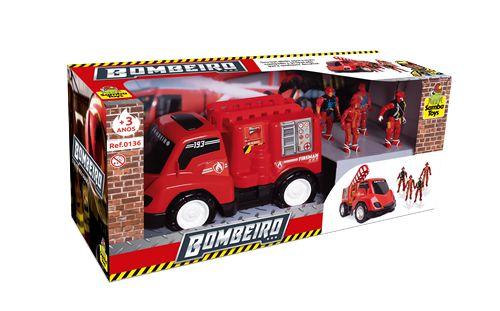 Brinquedo Carrinho Base Móvel de Bombeiro Com 2 Soldados