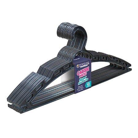 Cabide Preto Super Resistente C/ 10 Pçs 40x16cm 25730 Arqplast