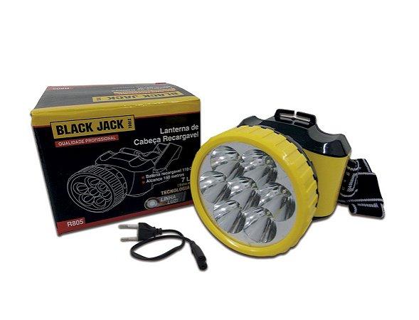 Lanterna de Cabeça Recarregavel 7 Leds Bivolt BLACK JACK