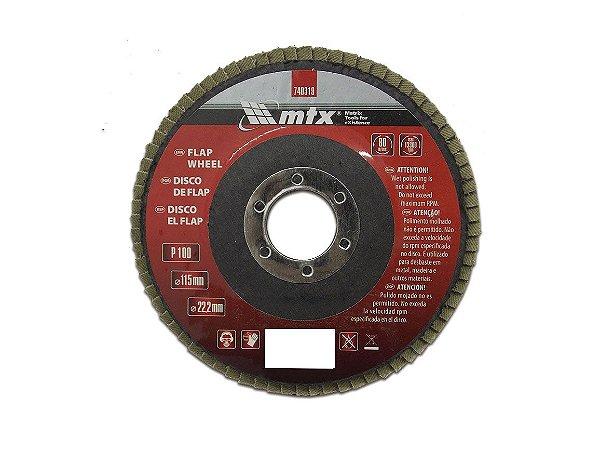 Disco de Desbaste tipo FLAP Grão 100 115 x 22mm MTX