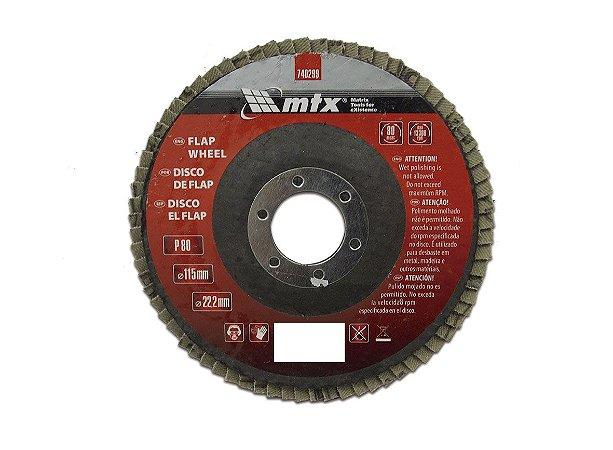Disco de Desbaste tipo FLAP Grão 80 115 x 22mm MTX
