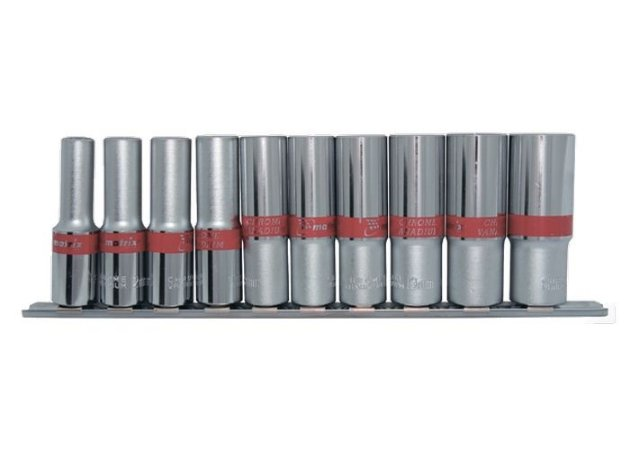 Jogo c/10 Pçs Soquetes Longo Sextavado 10-22mm CRV Encaixe 1/2 135909 MTX