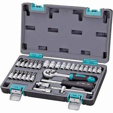 Kit de Ferramentas 1/4 POL,CRV,Caixa Plastica 29 PÇS 14100 STELS