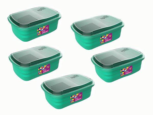 Kit 5 Potes P/ Freezer / Microondas 330 ml PP Verde Uninjet