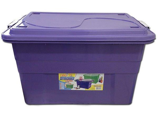 Caixa Organizadora 70 Litros Multiuso Roxa Agraplast