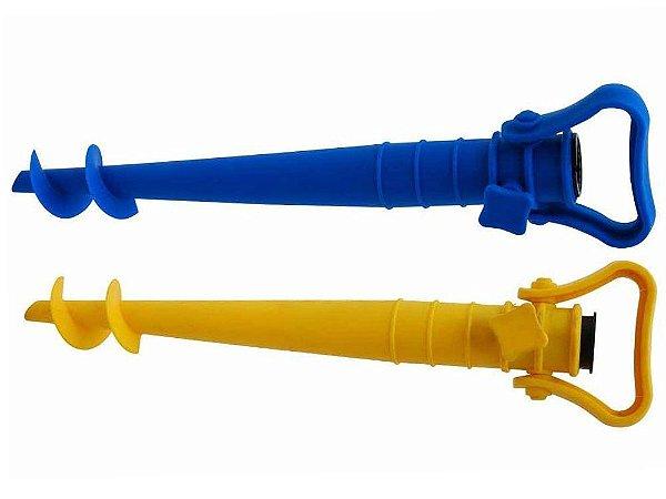 Saca-Areia C/ Suporte P/ Guarda-Sol Azul / Amarelo Mor