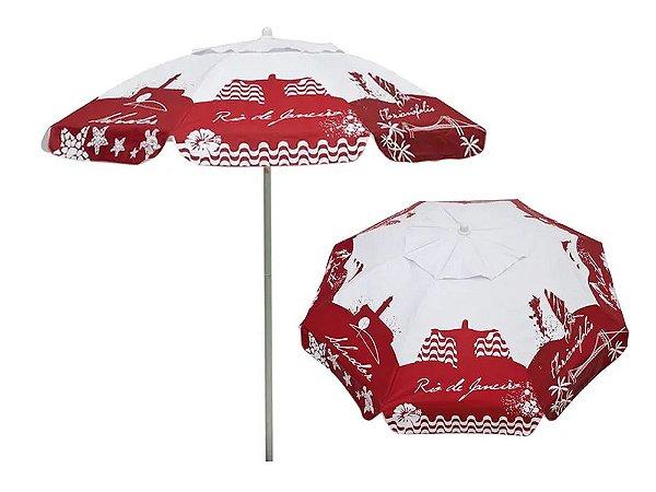 Guarda-Sol Bagum 1,80mts Listras Fashion Vermelho Mor