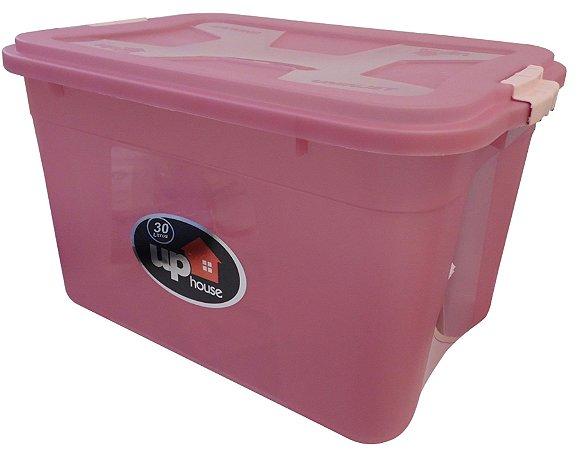 Caixa Organizadora 30 Litros Transparente/Rosa UP House 0769 Uninjet