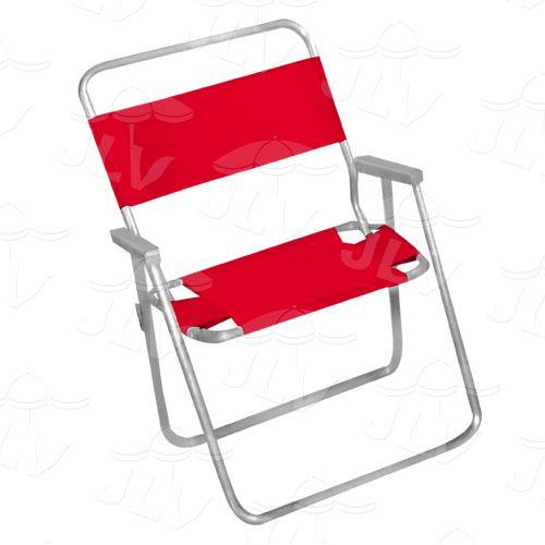 Cadeira Alta Master Em Alumínio C/ Madeira Embutida Vermelha JLV